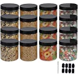 12 Pack 16 oz Plastic Jars With Lids, Extra Labels, 1 Pen, Clear PET Seal Jar for Food Storage,Wide Opening Storage jar For D