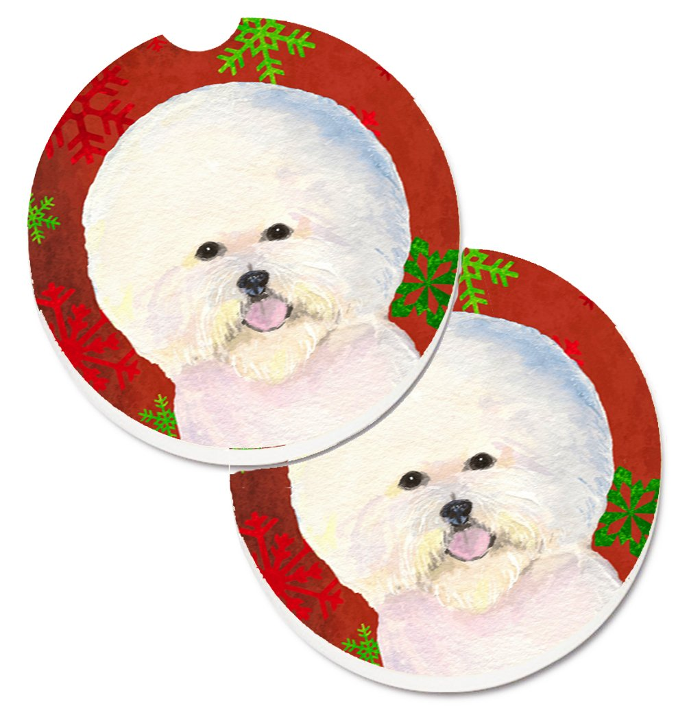 2.56 Multicolor Carolines Treasures Bichon Frise Red /& green Snowflakes Holiday Christmas Set of 2 Cup Holder Car Coasters SS4733CARC