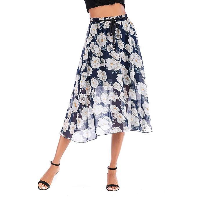 Falda de Gasa, Mujeres Falda de impresión Floral Cinturón de Las ...