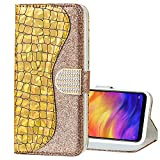 EnjoyCase Bling Case for Galaxy J4 Plus 2018,Shiny Glitter Laser Pu Leather Diamond Magnetic Clasp Bookstyle Soft Tpu Inner Flip Wallet Case Cover for Samsung Galaxy J4 Plus 2018