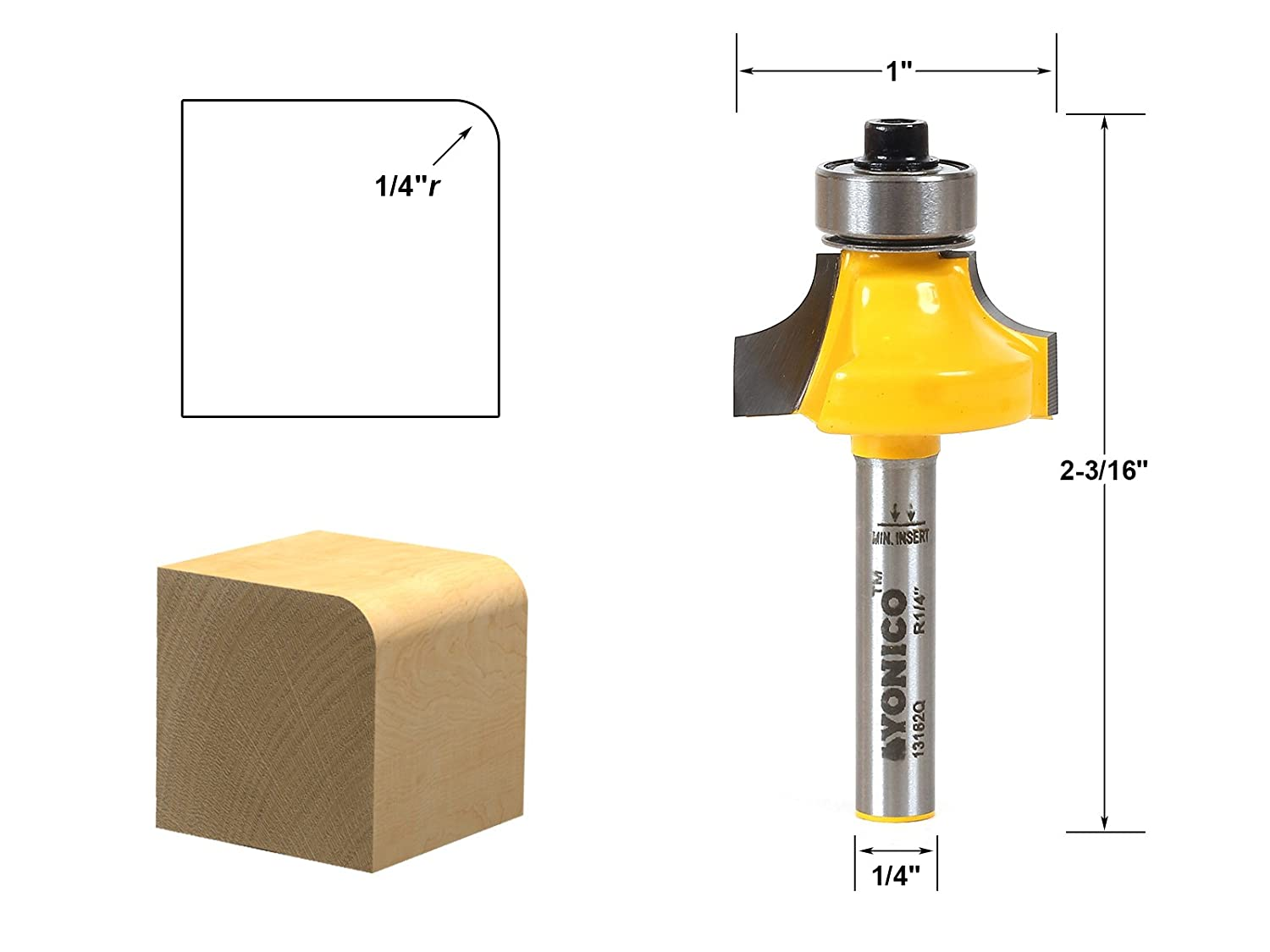 Yonico 13161 Round Over Edging Router Bit - 1/8' Radius 1/2' Shank