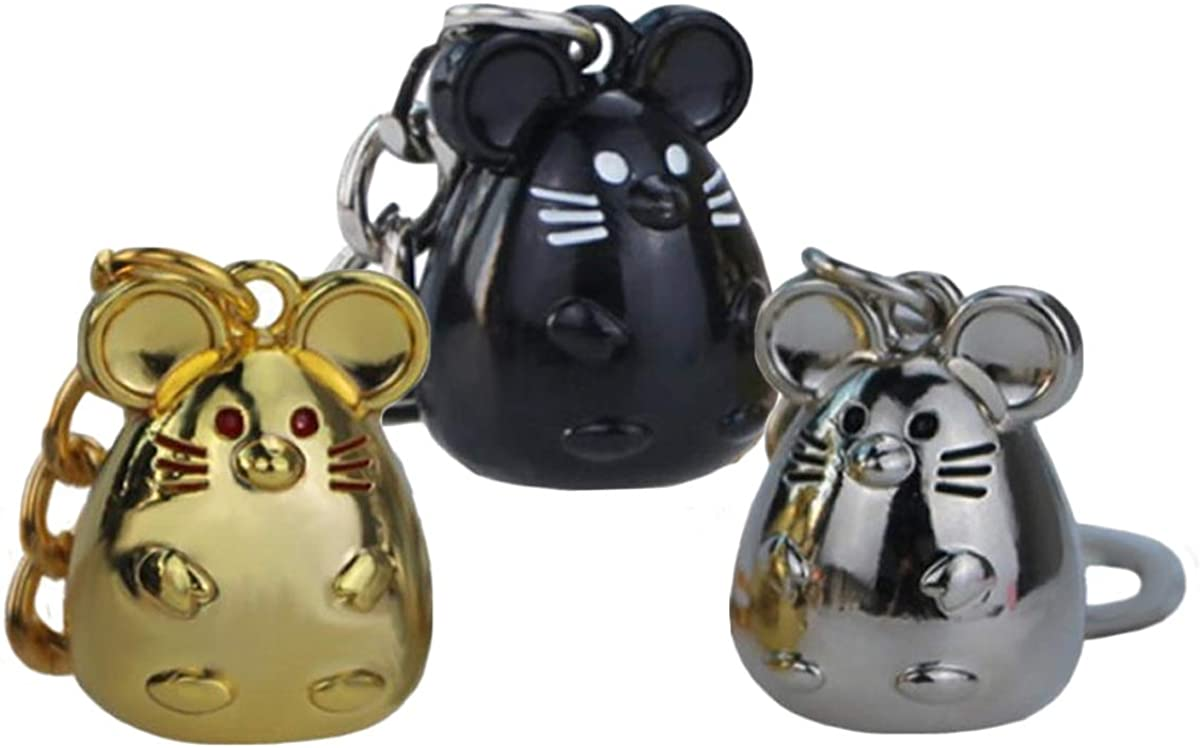 EOPER Cute Polished Rat Shaped Keychain Lucky Key Ring Gift, 3 Pieces Mouse Rat Keychains Pendants, Chinese Zodiac Lucky Rat Key Bag Charm 2020 New Year Souvenir Gift Silver+Black+Gold