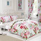 Signature Home Key to My Heart Floral Patchwork Bed in a Bag with Duvet Cover/Pillow Cases/Sheet and Curtains, King Size, Pink by Signature Home
