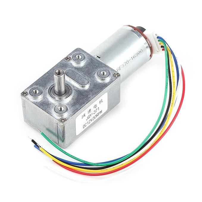 Motor de Reducci/ón de alto par con Encoder Srong Autoblocante Motor Reductor de Reducci/ón 100 RPM Motorreductor de 12 V CC