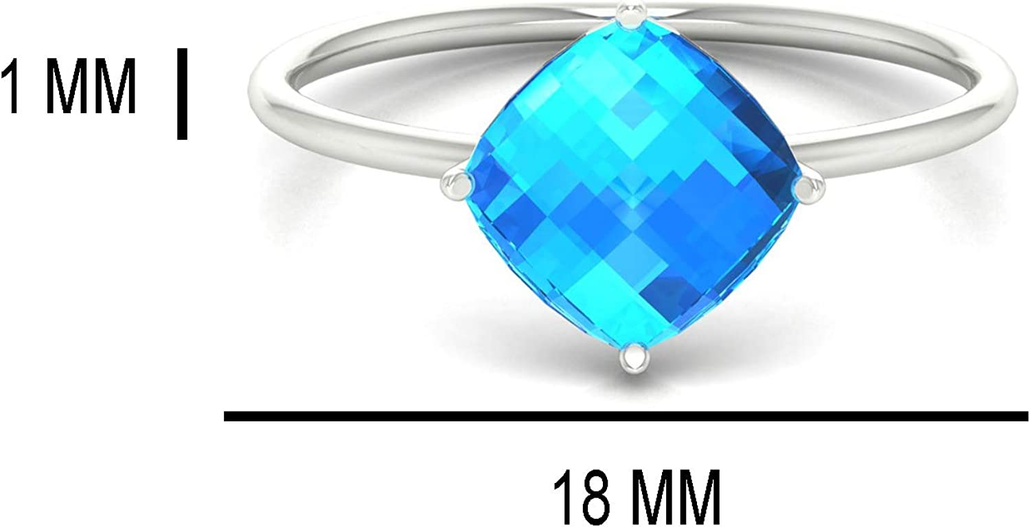 14K Fine Gold Natural Gemstone 8 MM Cushion Both Side Checker Cut Ring Halloween Gift