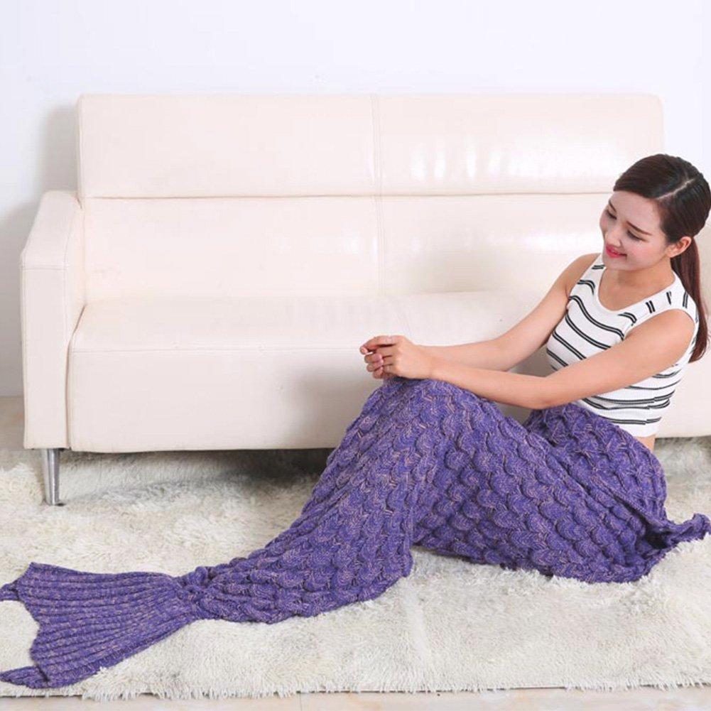 Manta de punto hecho a mano de la sirena de la cola, caliente manta del sofá de la sala de estar para adultos y niños All Seasons manta para dormir bolsa de ...