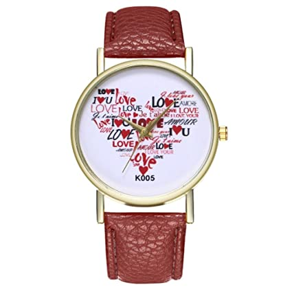Woman Fashion watches with Heart pattern Leather Band Quartz Round couple Wrist Watches,GINELO (