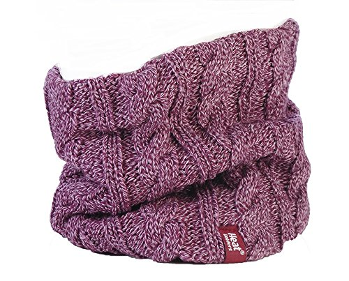 Damen Original thermisch Winter warme Wärmehalter Neck Warmer 3.4 Tog Fleece -Schal Rundschal mit Zopfmuster Rosa