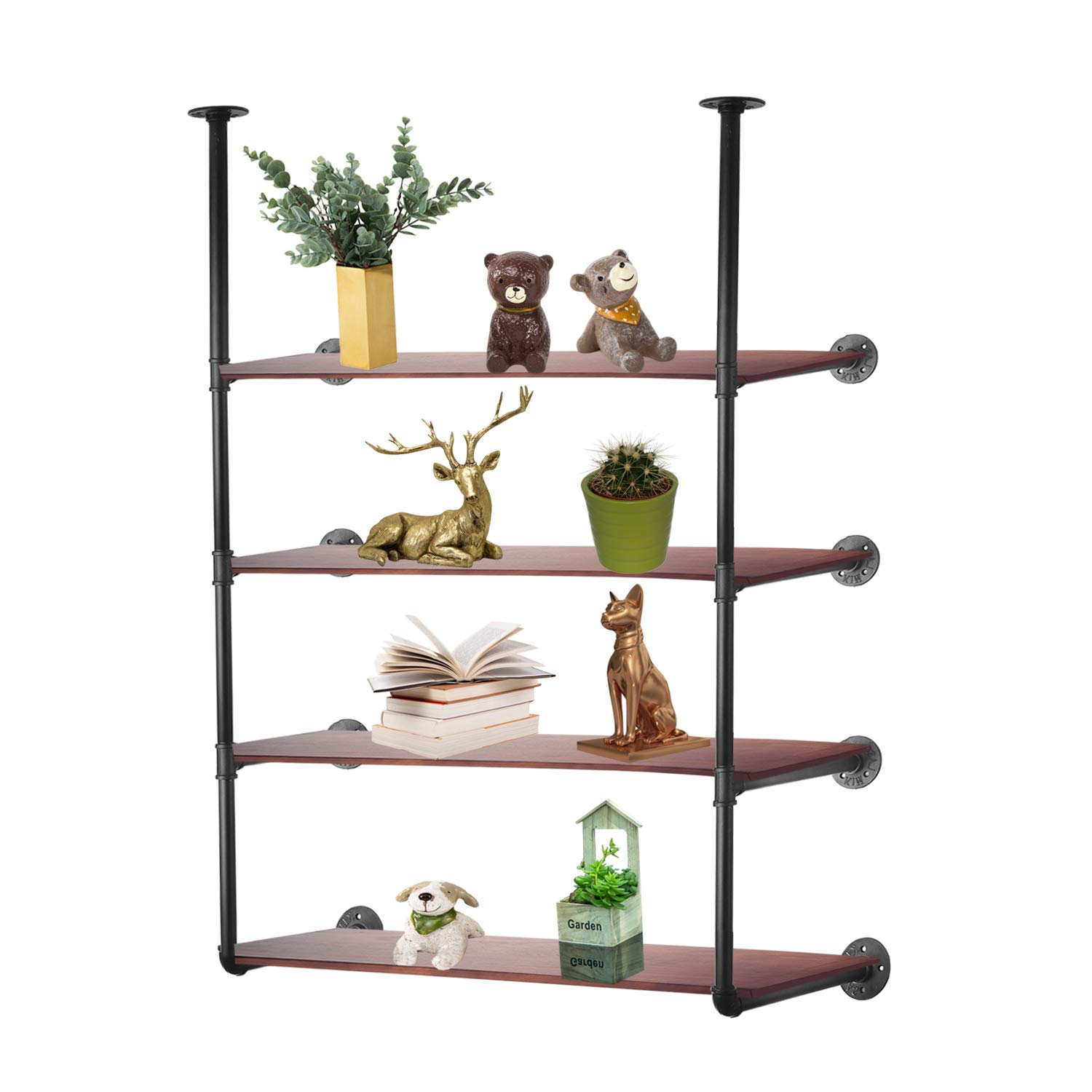 3S Industrial Pipe Shelving, Rustic Iron Pipe Shelf Wall Mount Bookshelf Shelving Unit,Mounted Bracket,DIY Support,No Planks(2 pcs),Black.