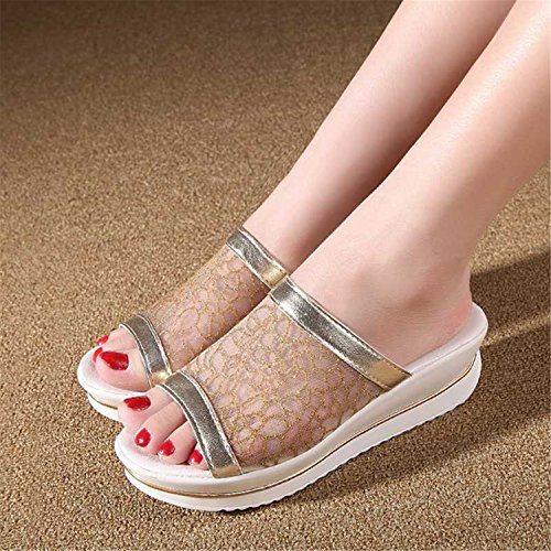 Platform Slides Gold Selling Shoes Toe New Sandals Open Silver Choi Wedges Silver Gerald Summer Dress Casual Women'S Hot Comfort Thick 06pWw