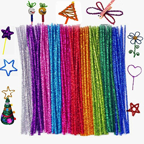 XINHONGJING Glitter Sparkle Pipe Cleaners Tinsel Chenille Stem Craft Supplies 6 mm x 12 Inch for DIY Arts Craft Projects (500 pcs 10 colors)