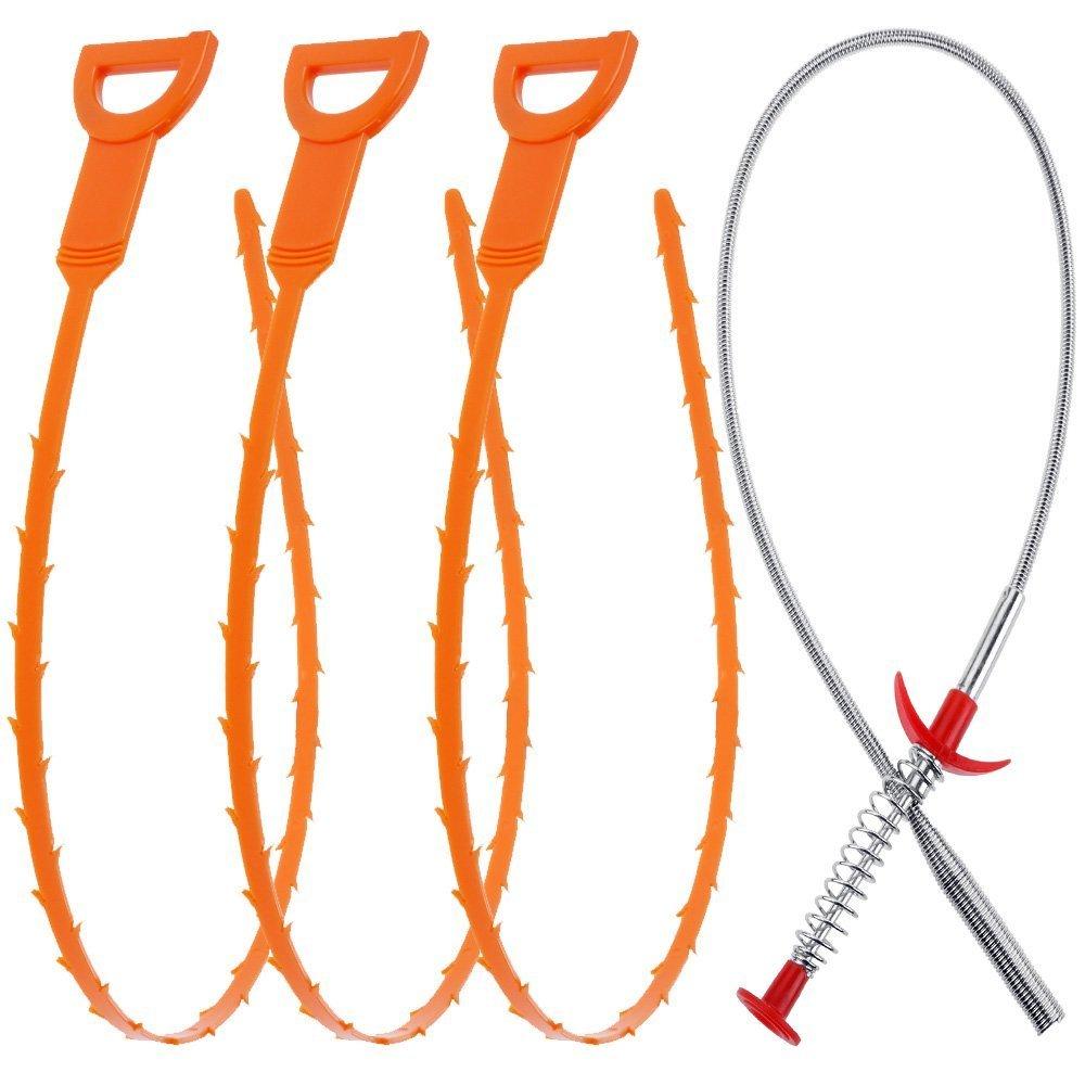 4 Pack 19.99inch Scarico Scarico Snake capelli Clog di rimozione con Clog di rimozione per pulizia per la cucina/Sink / vasca da bagno Grsta