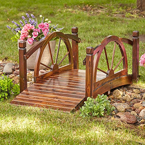 Kotulas Wagon Wheel Wood Garden Bridge - 5ft.