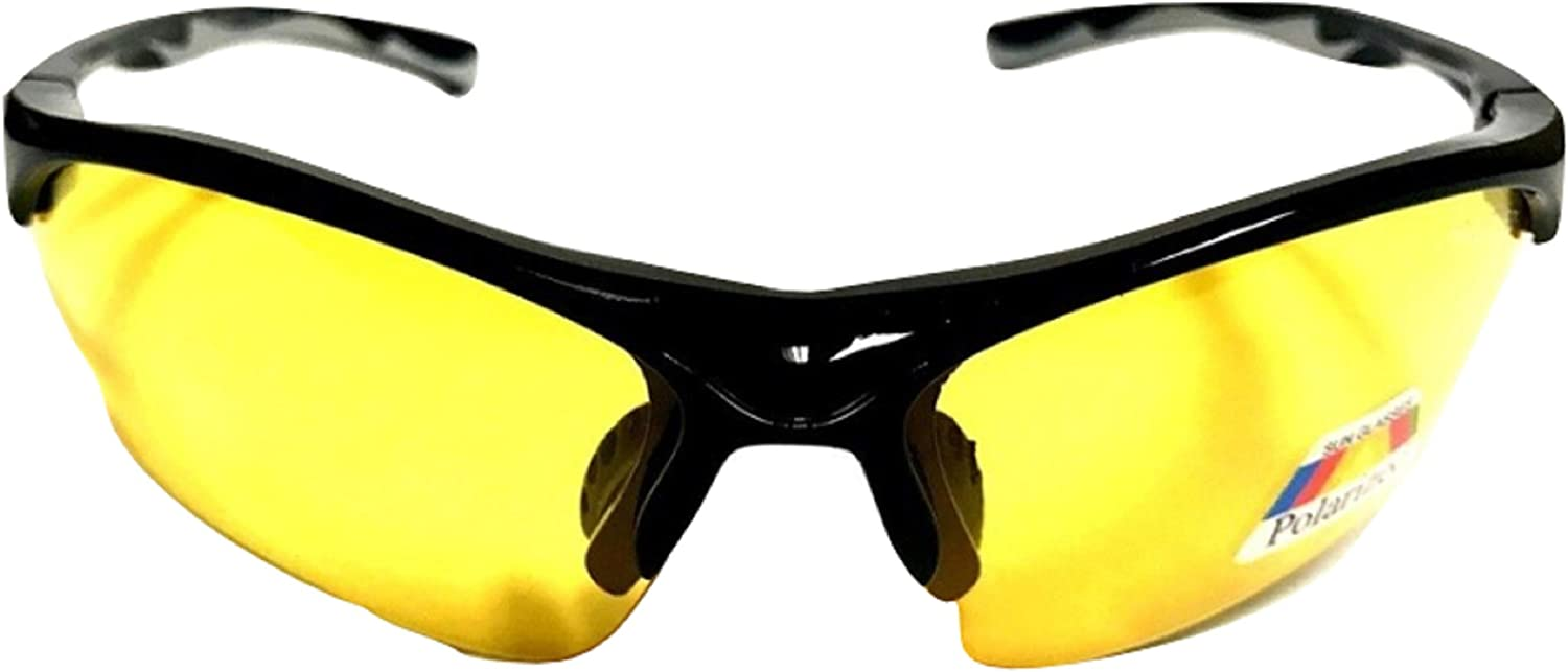 Black with White Case SPORT WRAP HD NIGHT DRIVING VISION SUNGLASSES YELLOW HD GLASSES