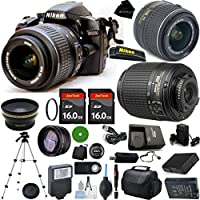 D3200 24.2 MP CMOS Digital SLR, NIKKOR 18-55mm f/3.5-5.6 Auto Focus-S DX VR, 55-200mm f4-5.6G ED Auto Focus-S DX, 2pcs 16GB BaseDeals Memory, Case, Wide Angle, Telephoto, Battery, Charger