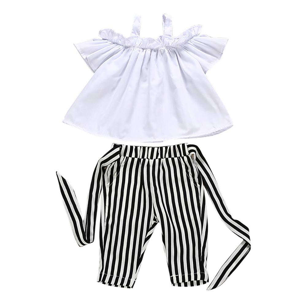 zhangwei Kids Girl Clothes Summer Spring Strap Blouse Shirt Stripe Pants 2 Pieces Holiday Beach Outfits