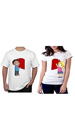 4c58b6956a Image Unavailable. Image not available for. Colour: Ritzees Unisex  Polyester Printed Couple T-Shirt ...