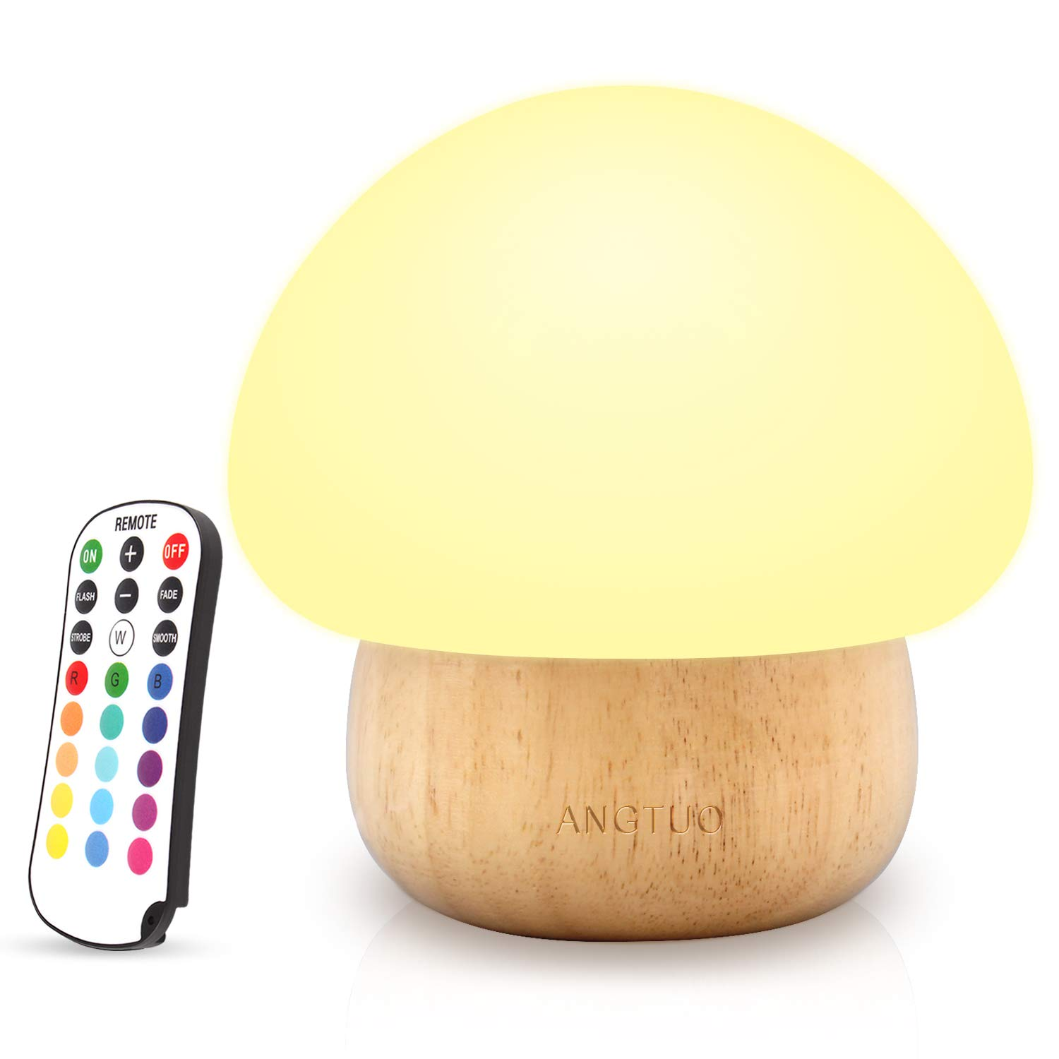 ANGTUO Kids Soft Silicone Mushroom Night Light Bightness Adjustment and Color Change by Remote, Ideal Night Lamp Gift for Boys Girls Kids Toddlers Baby,US Plug