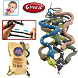 Rubber Snake,14 Inch Snake Toy Set(6 Pack),Food Grade Material TPR Super Stretchy,With Learning Card,ValeforToy Realistic Fake Snake Figure Keep Bird Away Bathtub Garden Rainforest Squishy Reptile Toy