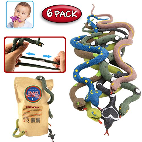 Rubber Snake,14 Inch Snake Toy Set(6 Pack),Food Grade Material TPR Super Stretchy,With Learning Card,ValeforToy Realistic Fake Snake Figure Keep Bird Away Bathtub Garden Rainforest Squishy Reptile (Golf Jokes Birthday Card)
