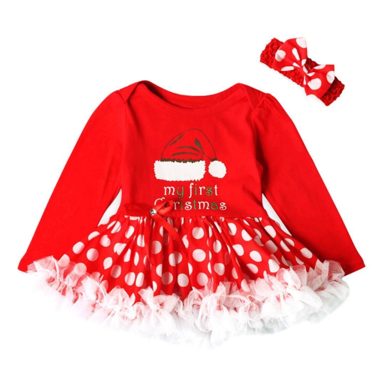 1PC Dress + Headbands Set Baby Girls Christmas Dot Princess Outfits Sumen