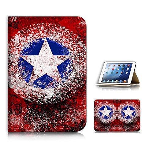 (for iPad Mini 1 2 3) Flip Case Cover & Screen Protector Bundle - A21722 Captain America (Ipad 2 Mini Captain America)
