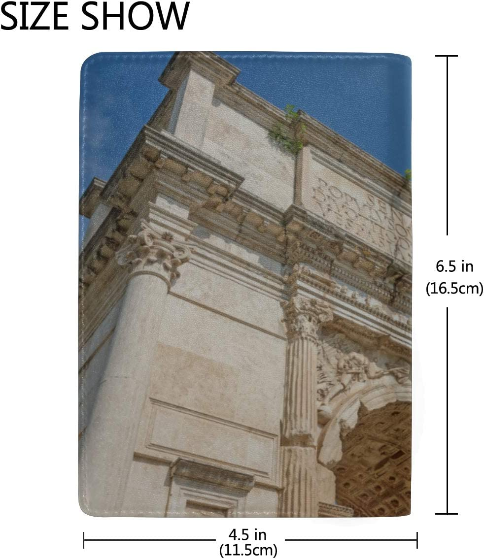 Leather Passport Cover For Men Ancient Great Roman Architecture Stylish Pu Leather Travel Accessories Kids Passport Cover For Women Men
