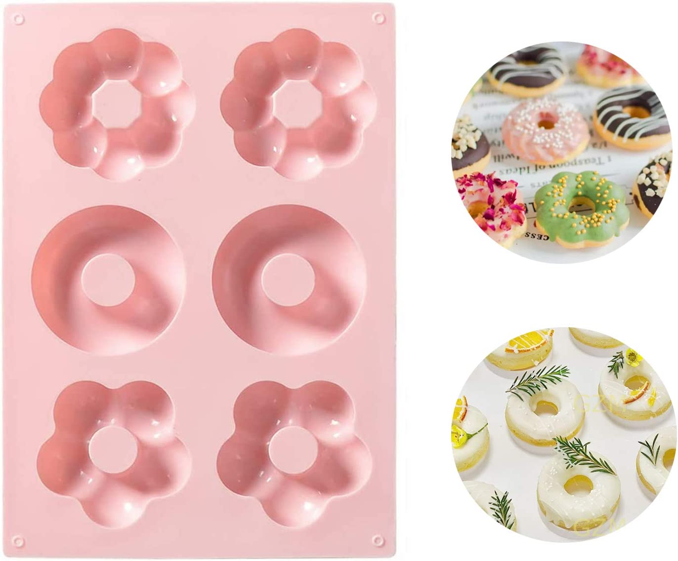 Food grade silicone doughnut mold -Non-stick Round and Flower Donut Molds(Pink)