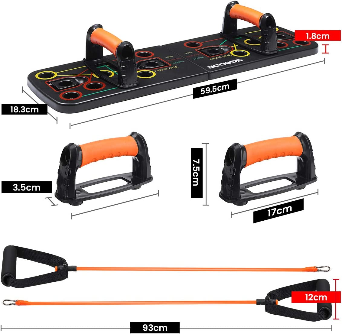 SGODDE 13 in 1 Push Up Board Faltbare Multifunktionale Liegestütze Brett mit