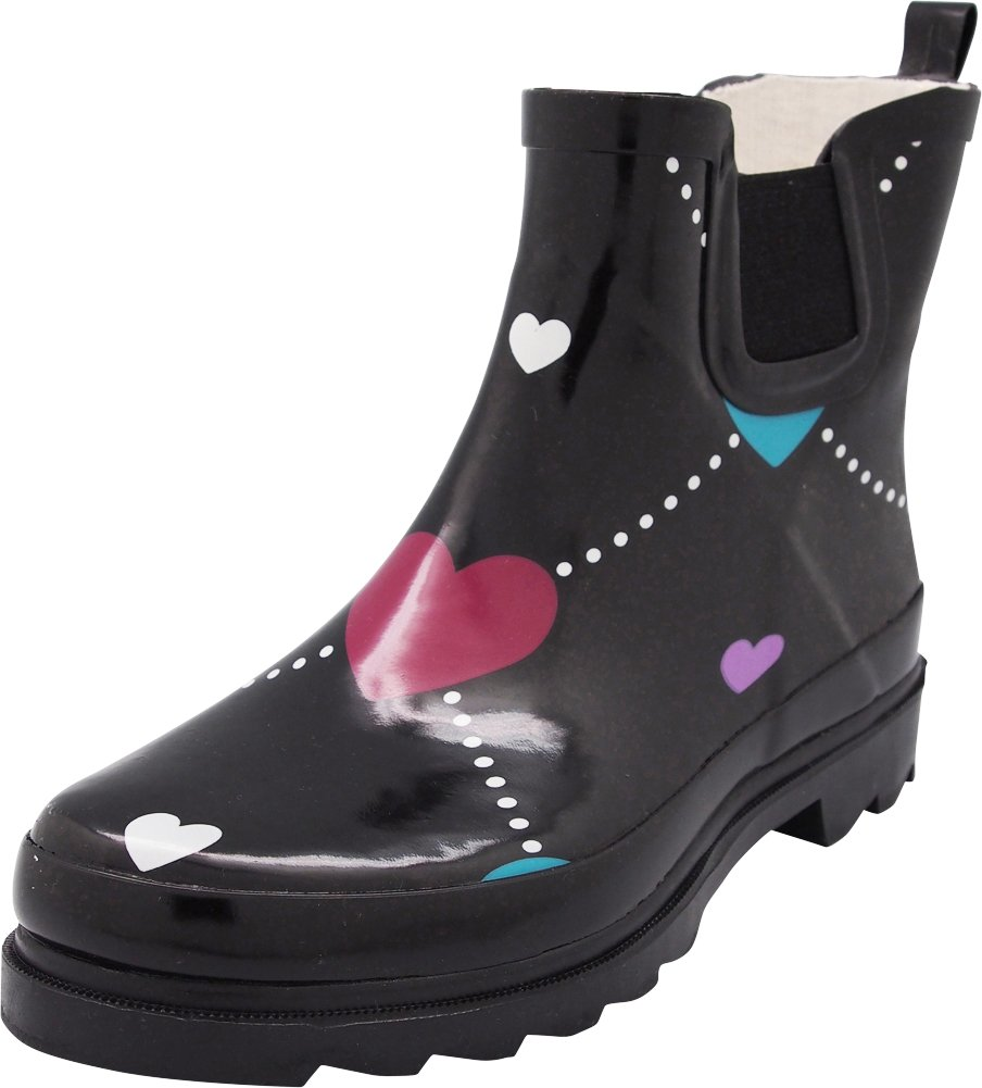 NORTY - Womens Ankle High Argyle Heart Print Rain Boot, Black 40678-7B(M) US