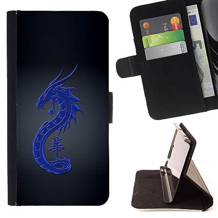 Amazon.com: Tribal Blue Dragon - Flip Credit Card Slots PU ...