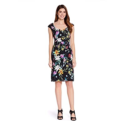 Adrianna Papell Women's Printed Zenya Side Drape Sheath Dress at Amazon Women's Clothing store