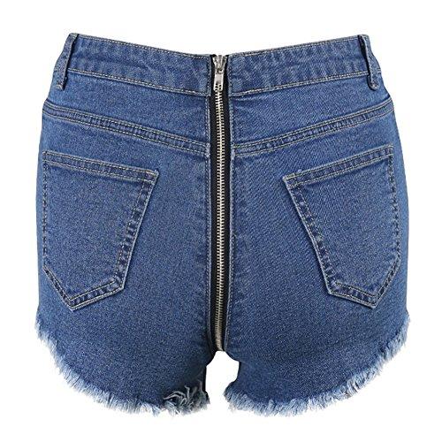 S E Zip Donna Nero Scuro Chiaro Pantaloncini Semplici Pantaloni Sexy Tinta Micro Davanti Unita Blu xl Tromba Jeans Dietro Larghi Da zdqPUqwT