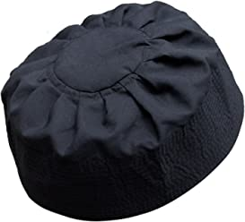 TheKufi Black Cotton Pleated Top 3.5in Tall Fabric Kufi Prayer Cap Beanie 0e165f3f490c