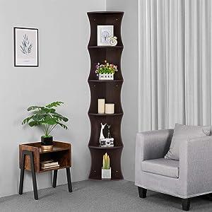 Yaheetech 5 Tier Corner Shelf, Wood Coner Stand Storage Bookshelf for Living Room/Study/Bedroom, Brown