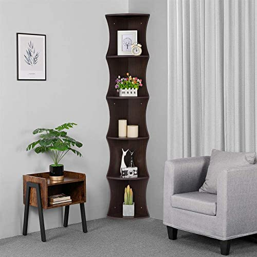 Yaheetech 5 Tier Corner Shelf, Wood Coner Stand Storage Bookshelf for Living Room Study Bedroom, Brown