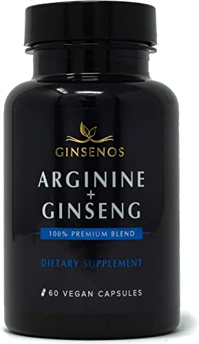 Arginine Panax Ginseng – 60 Vegan Capsules – 100 Premium Blend Combines Korean Red Ginseng and L-Arginine – Extra Strength Pills – Improves Energy, Performance, Heart Health, Stamina by Ginsenos