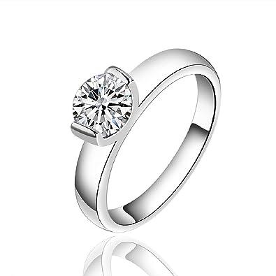 joyliveCY Fashion 925 Sterling Silver Women Jewelry Classic Plain Lady Wedding Engagement Ring Size 8 e6xxdnls2