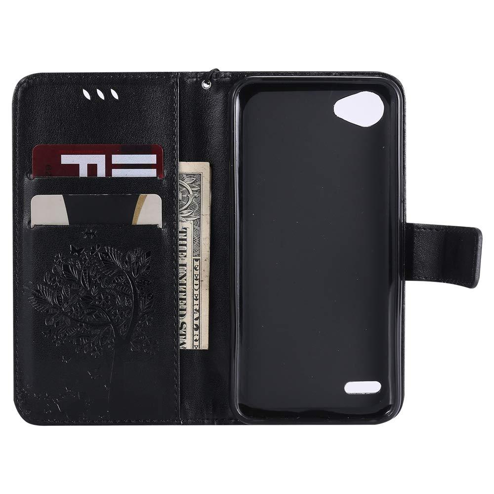 COTDINFOR LG Q6 Coque Premium PU en Cuir De Mode Poche Cash Flip Portefeuille Cas Magn/étique Ferm/é Fente pour Carte de Cr/édit pour LG Q6 G6 Mini Gray Wishing Tree with Diamond KT.