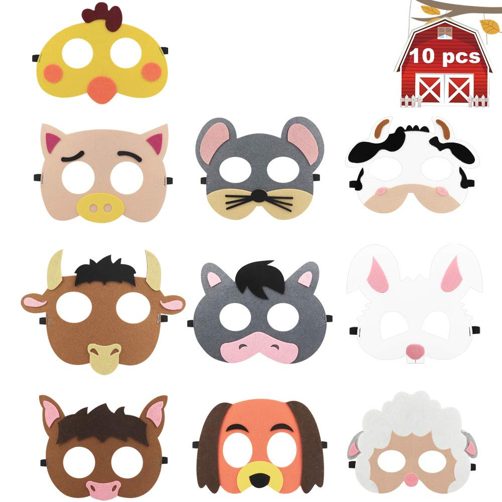 10 Pack Farm Animal Party Masks Barnyard Animal Felt Masks for Petting Zoo Farmhouse Theme Birthday Party Favors Kids Costumes Dress-Up Party Supplies 61urIiW7mdL