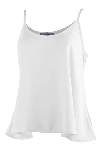 4f4a6d27338ae ViiViiKay Women s Flowy Chiffon Sleeveless Tank Top Strappy Cami Swing Top  WHITE S
