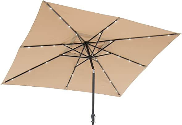 Sun-Ray 811027 9'x7' Rectangular 8-Rib Solar Patio Umbrella