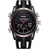 「ビンズ」BINZI メンズ腕時計 多機能 ミリタリー 日付表示 防水ウォッチ アナログ デジタル表示 パイロット(ブラック)BZ-1519Rメンズ