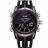 「ビンズ」BINZI メンズ腕時計 多機能 ミリタリー 日付表示 軍事腕時計 アナログ デジタル表示 パイロット(ブラック)BZ-1519Rメンズ