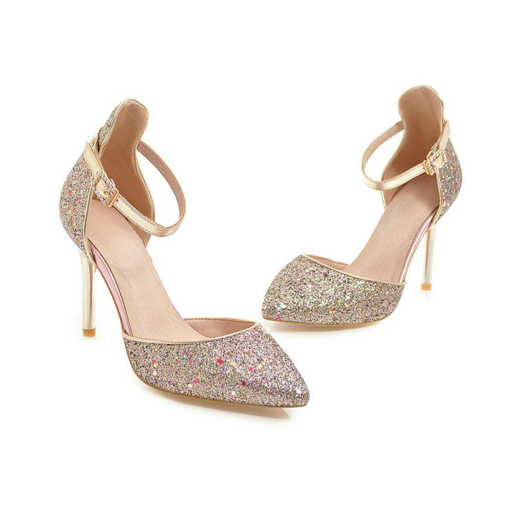Purple GanQuan2018 Women Pumps,Closed Pointed Toe Thin High Heels Ankle Buckle Sexty Sequins shoes