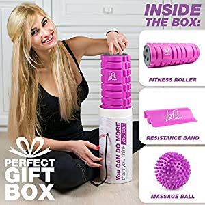Foam Roller for Muscles Kit - Massage Roller for Women - Muscle Roller for Back Exercise - Portable Massager Rollers & Balls for Physical Therapy - Sports Gifts for Women by LaFit