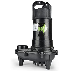 ECO-FLO Products ECD75W Cast Iron Sump Pump with Wide Angle Switch, 3/4 HP, 6,000 GPH