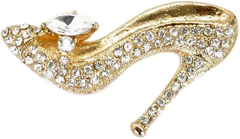 TTjewelry Fashion Style High-Heel Shoe Rhinestone Crystal Brooch Pin
