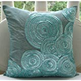 """Luxury Blue Cushion Covers, Spiral Sequins and Beaded Pillows Cover, Throw Pillow Covers 18""""x18"""", Square Silk Pillow Covers, Geometric Contemporary Pillows Cover - Morning Dew"""