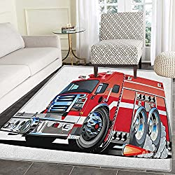 Cars Area Rug Carpet Big Fire Truck with Emergency Equipments Universal Safety Rescue Team Engine Cartoon Customize door mats for home Mat 2'x3' Red Silver
